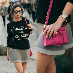 Cansın Ekşi - Michael Kors Hot Pink Bag, Daniel Wellington Classic Sheffield Lady Watch, Pull & Bear Sweatshirt, Bershka Ruffle Skirt, Bilstore Mirror Sunnies - Wake Up & Be Awesome