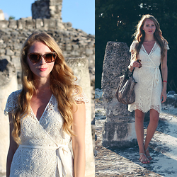 Natalie A - Zara Lace Dress, Longchamp Le Pliage, Miu Glitter Sunglasses - El Rey Ruins