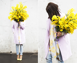 Manona Che - Bershka Lilac Coat, Bershka Jeans, No Name Yellow Pumps, Befree Scarf - Happy Women's Day!
