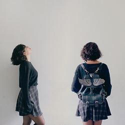 Dayane M. - Riachuelo Black Sweater, Taobao Angel Wings/Winged Backpack, Riachuelo Plaid Skirt - Underneath it all, we're just savages