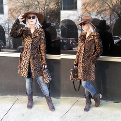 Suzi West - Brixton Wide Brim Hat, Arden B Leopard Print Coat, Accoutrements Leopard Bowling Bag Purse, Bdg High Waist Skinny Jeans, Mossimo Slouchy Cowboy Boot, Make Believe Cateye Sunglasses - 07 March 2015