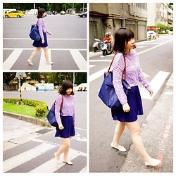 Emma Wu - Salvatore Ferragamo Urban Shoes, Uniqlo Skirt, Longchamp Bag - Purple day