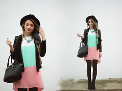 ♡Anita Kurkach♡ - Sheinside Dress, Alisonman Shoes, Oasap Necklace, Asos Hat, Asos Bag, Asos Jacket - True Colors.