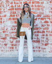 Jessi Malay - Topshop Striped Croptop, Vintage White Flared Pants, Topshop Army Green Coat, Saint Laurent Suede Tassle Crossbody Bag, Casadei Blade Pumps, Anine Bing Copenhagen Tortoise Shell Sunglasses - Stripes and Flares