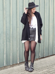 Tanja S. - Takko Skirt, Jeffrey Campbell Boots, H&M Hat - Always black