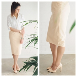 Ruby S - H&M White Collar Shirt, River Island Nude Leather Look Pencil Skirt, River Island Nude Heels - Nude