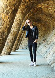 Mike Gajer - Topman Leather Jacket, Cheap Monday Black Basic Shirt, Cheap Monday Black Jeans, Nike White Air Max - Gaudi's black.
