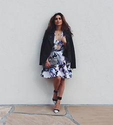 Savvy Javvy - Stylestalker Floral Dress, Michael Kors Leather Motorcycle Jacket - Moto Meets Girly Chic