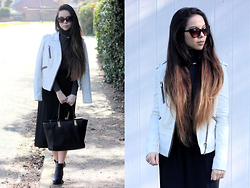 Jen Lou M - Zerouv Cat Eye Sunglasses, River Island White Leather Jacket, New Look Polo Neck Top, H&M Midi Skirt, New Look Leather Tote, New Look Ankle Boots, Dorothy Perkins Triple Pearl Choker - White On