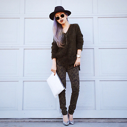 Aika Y - H&M Fedora, H&M Khaki Sweater, Camo Skinny Jenas, Qupid Silver Pumps, Asos Multi Row Necklace, Zara White Clutch, Wholesale Celebshades Round Metal Sunglasses - Utility Chic