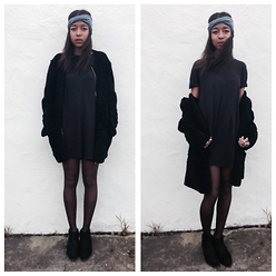 Lucie Y-K - Sandro Jacket, Jung Maven T Shirt Dress, Urban Outfitters Headband, Circus Boots - Black X Blue