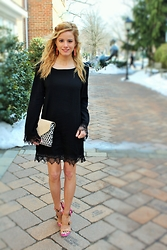 Kim Tuttle - Bottega Veneta Sandals, Loeffler Randall Lock Clutch, Shop 1802 Little Black Dress - More than just an lbd