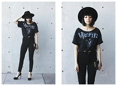 Ashley Ballard - Saint Laurent Pumps, H&M High Waist Pant, Vintage Wide Brim Hat, Misfits Shirt - DUST TO DUST
