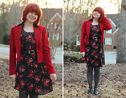 Jamie Rose - Ralph Lauren Red Open Vintage Blazer, Rose Print Dress, Forever 21 Gray Tights, Boohoo Cutout Ankle Boot Flats - Rose Print Dress and a Vintage Blazer
