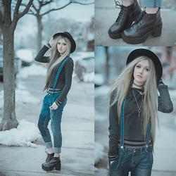 Anya Anti - Forever 21 Wool Hat, Chunky Boots, Yoins.Com Suspenders Boyfriend Jeans - Tom Sawyer's adventure
