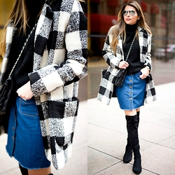 Pam Hetlinger - Sheinside Plaid Coat - Denim Skirt