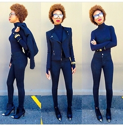 Eny K - Bcbg Jacket, Nordstrom Turtleneck Longsleeve, American Apparel Highwaist Skinny, H&M Captoe - Black On Black