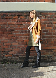 Angharad Jones - Missguided Jacket, Zara Dress, Asos Flares - Flares and shearling