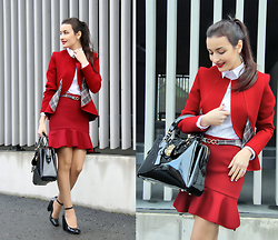 Lucine A - Waggon Paris Red Suit, Waggon Paris Red Suit, Waggon Paris Patent Leather Bag, Seppala Shoes, Zara White Shirt - Red Preppy