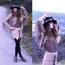 Alexe Bec - Doll Poupée Hat Band, Missguided Hat, Sheinside Fringe Jacket, Spell Designs Skirt - 25th birthday