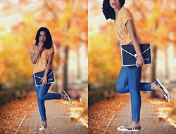 Ka Martins - Zara Denim Leggings, Jorge Alex Sporty Ballerinas, Knit Orange Top, Mac Cosmetics Lady Danger - Le Sac