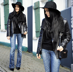 The Day Dreamings - Blackfive Jacket, Miss Sixty Jeans Bootcut, Mango Bag, Zara Booties, Floralpunk Hat - New old favorites