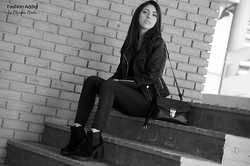 Olympia Pi - Pull & Bear Leather Jacket, H&M Top, Pull & Bear Skinny Jeans, H&M Ankle Boots, Accessorize Satchel - Back In Black