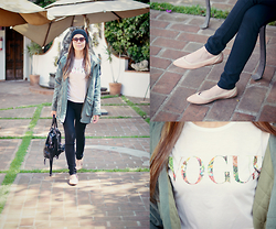 She is Magique Oh my Dior - Romwe Jacket, Dollhousestore Tee, Mina Shoes Flats, Forever 21 Bag - Those Casual Days