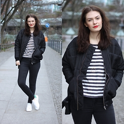 Marie J. - Carin Wester Reva Jacket, Adidas Stan Smith, Topshop Black Skinny Leigh Jeans, Cos Striped Shirt - Reva Love
