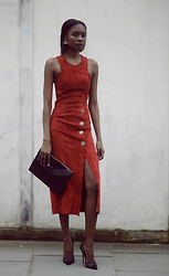 Natasha N - Zenzele Suede Dress, Zenzele Clutch, Office Shoes Mesh Heels - Suede