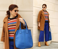 Teresa Leite - Tany Couture Self Made Camel Coat, Zara Colored Striped Knit Sweater, Cobalt Blue Culottes, Lanidor Cobalt Blue Bag, Pull & Bear Tan Booties - Camel, Cobalt Blue and Colorful Stripes (self-made coat)