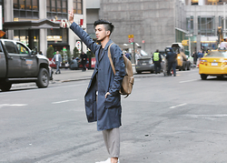 J. Sandoval Gomez - H&M Coat, Zara Leather Backpack, Your Neighbors Cropped Trousers - 03122015 New York City