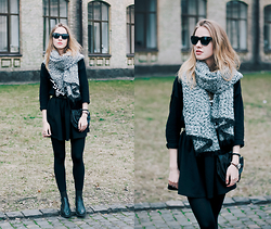 Anna Pogribnyak - Topshop Scarf, Topshop Boots, Mango Sunglasses, Zara Bag, H&M Sweatshirt - Spring is here. Black is back.