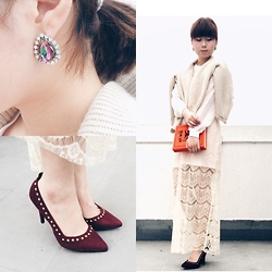 Casey Chan - Forever 21 High Heels, Varrie Love Me Lace Skirt, Penny Black Book Clutch - White Valentine's