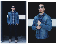 Christopher Michael - Kenneth Cole Sunglasses, Levi's® Jean Jacket, Hollister Blue And White Plaid Button Up Shirt - REACTION