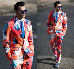 Jorge Gallegos - Mr. Turk Thurston Blazer, H&M Easy Iron Shirt, Mr. Turk Clyde Slim Trouser, Haze Collection Edge Sunglasses, Topman Suede Shoes - Florals? For Spring? Groundbreaking