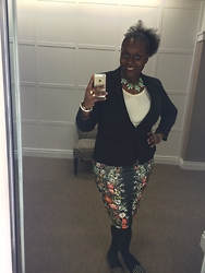 Sue-Ann Francis - Jewelmint, Forever 21 Floral Skirt, Zigi Soho Studded Flats - OOTD: Work Attire...