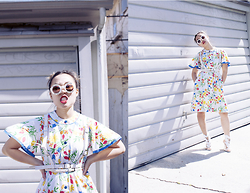 Nicole Kim - Wildfox Sunglasses, Jet Rag Vintage Floral Dress, Deandri White Leather Harness, Winged Heels - The Neighborhood Weirdo