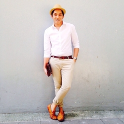 Kenneth Allan Soriano - Forever 21 White Button Down Shirt, Forever 21 Khaki Slim Fit Pants, Milanos Brown Loafers, Thrifted Brown Fedora, Penshoppe Brown Braided Belt - Summer Time