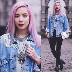 Leanne Lim-Walker - Hannah Beth Fincham Denim Jacket, Only Child London Spoon Necklace, New Look Ripped Jeans, New Look Necklace, New Look Green Crop - Double Denim LFW