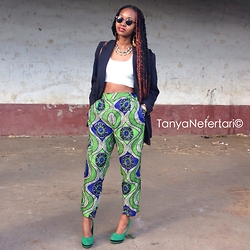 Tanya Nefertari - Saint Laurent Blazer, Box Twists, Tanya Nefertari Crop Top, Tanya Nefertari Printed Tapered Trousers, Suede Heels, Foster Grant Shades, Topshop Retro Jewellery - 15.04.15
