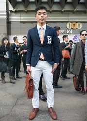 Gino Hsieh - Image Navy Blazer, Image Contrast Collar Shirt, Zara Orange Tie, Uniqlo White Jeans, Aldo Oxford Shoes, Asos Satchel, Zara Patent Belt - Suit Walk Taipei 2015