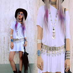 Sera Brand - Wear All White Dress, Moonglade Cara Choker, Stunner Collective Silver Cuff - Haunted