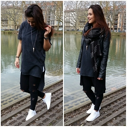 Dilara - Nike Thea, Zara Scarf, H&M Long T Shirt, Pieces (Selfmade) Ripped Jeans - AllBlvckEverything except the shoes