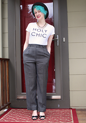 Emmy Geraghty - Thrifted Vintage Trousers, Old Navy Graphic Tee, J. Crew Gold Necklace, Dsw Strappy Sandals, Thrifted Homburg Hat - Power Bitch Pants