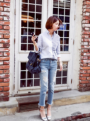 Imvely Imjihyun - Imvely Multiple, Nb, Imvely Cutting High, Pt, Proenza Schouler Bag, Balenciaga Bracelet - Stripe and Denim