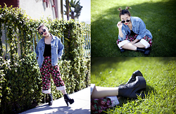 Nicole Kim - Topshop Sunglasses, Abercrombie & Fitch Denim Jacket, Pacsun Black Crop Top, Vintage Floral Pants, Zooshoo Gru Bootie - The New Kid on the Block