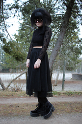 Panda . - Wildfox Sunglasses, Rebecca Stella For Nelly Top, Monki Skirt, Jeffrey Campbell Shoes - Queen of darkness.