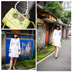 Emma Wu - Uniqlo White Dress, H&M Flower Necklace - White dress