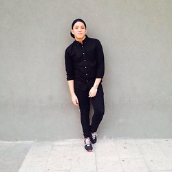 Kenneth Allan Soriano - Forever 21 Black Long Sleeves Button Down, Penshoppe Black Skinny Jeans, New Balance Black And Red Rubber Shoes - BLACK